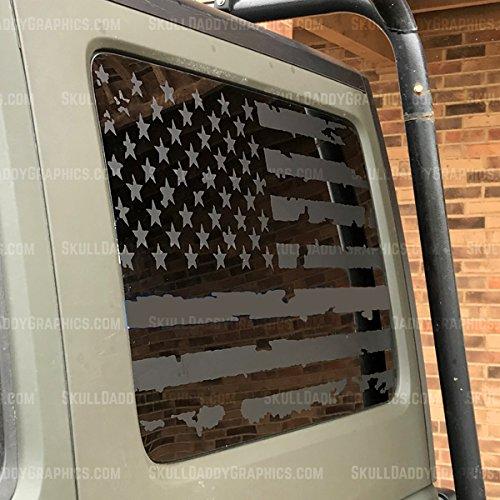 JL JK JKU Hard top Window USA Distressed Flag Decals Stickers to fit Jeep Wrangler 2007-2018 (JK 2door Driver Side)