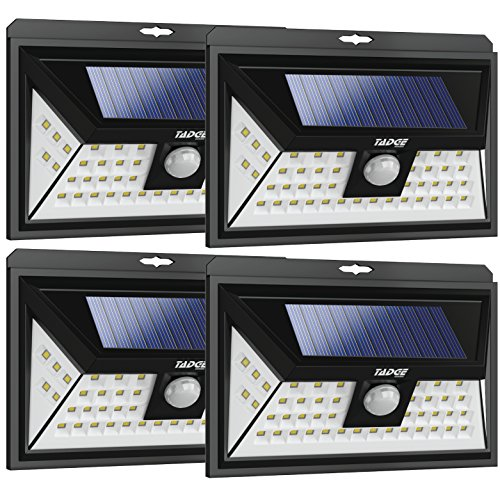 Solar Outdoor Patio Deck Lights 48 LED - Outside Motion Sensor Security Sun Powered Lighting For Yard, Backyard, Pathway, & Driveway | Wide Angle (Move Led)