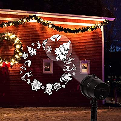 Minetom Christmas Projector Lights Outdoor Waterproof Projector White Patterns LED Lights with RF Wireless Remote, Decorative Lighting for Christmas Home Outdoor Garden Wall Party