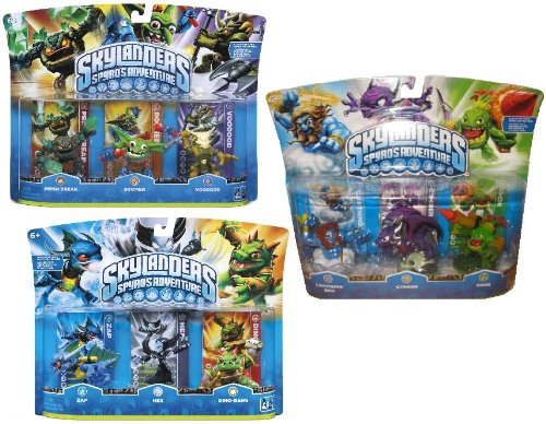 Skylanders Spyro's Adventure Exclusive Figure Set of 9 Includes: Zap , Hex , Dino-Rage , Lightning Rod , Cynder , Zook , Prism Break , Boomer & Voodood by ACTIVISION