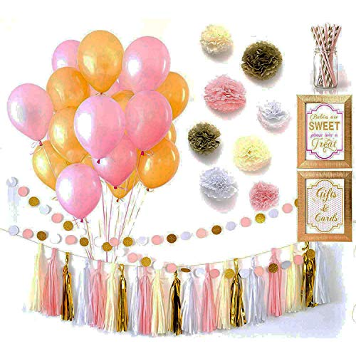 Baby Shower Decorations Pink and Gold - 57 Pc Baby Girl Shower Decorations Set with Pink and Gold Balloons, Straws, Pom Poms, Tassel Garland, and Table Decorations - Assembly Required (Hello Kitty Balloons Baby)