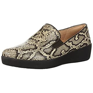 FitFlop Women's Superskate Sneaker, Taupe Snake, 9 M US