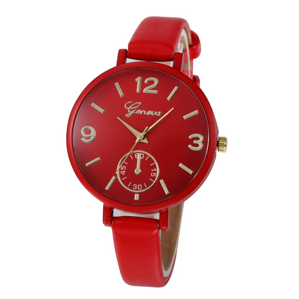 NXDA Casual plaid imitation leather wrist watch fashion quartz simulation minute watch double display watch ladies (Red)