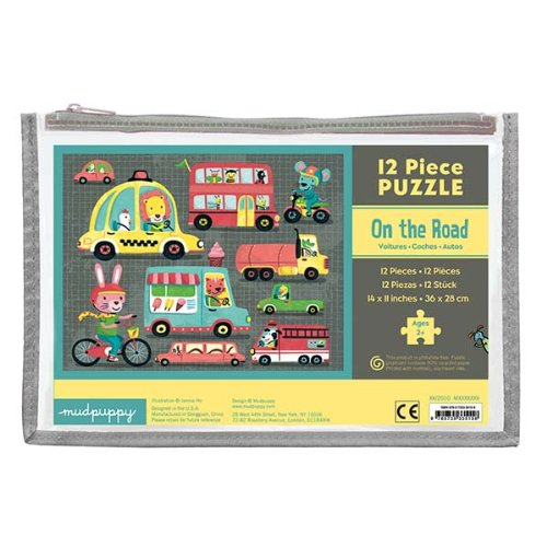 Mudpuppy On the Road Pouch Puzzle for Ages 2 & Up – Puzzle Features 12 Thick Pieces with Whimsical Animal Illustrations