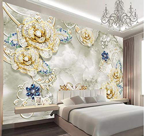 Wall Mural 3D Minimalistic Jewelry Diamond Flower Swan Modern Custom Photo Wallpaper Murals Wall Decor