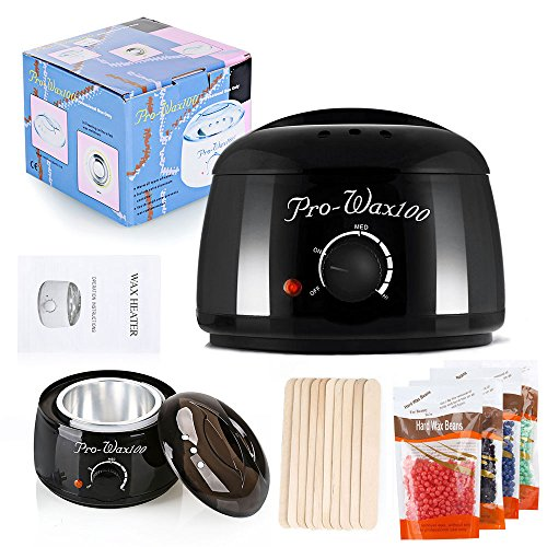 Hotrose Hair Removal Wax Warmer Bikini Waxing Rapid Electric Wax Heater with 4 Different Flavors Hard Wax Beans and 10 Wax Applicator Sticks by Hotrose®