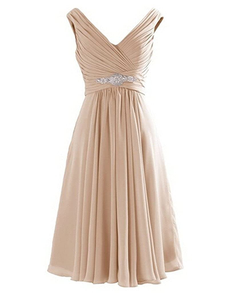 Champagne Kivary Short Knee Length A Line V Neck Prom Dresses Wedding Party Cocktail Gowns