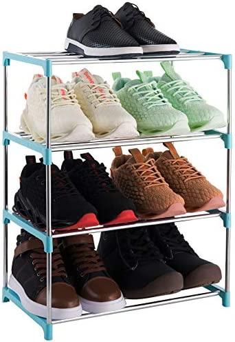 Xerhnan 4-Tier Stackable Small Shoe Rack, Lightweight Shoe Shelf Storage Organizer for Entryway, Hallway and Closet (blue)