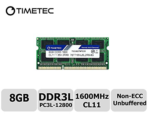 Timetec Hynix IC 8GB DDR3L 1600MHz PC3L-12800 Non ECC Unbuffered 1.35V CL11 2Rx8 Dual Rank 204 Pin SODIMM Laptop Notebook Computer Memory Ram Module - All In One Motherboard