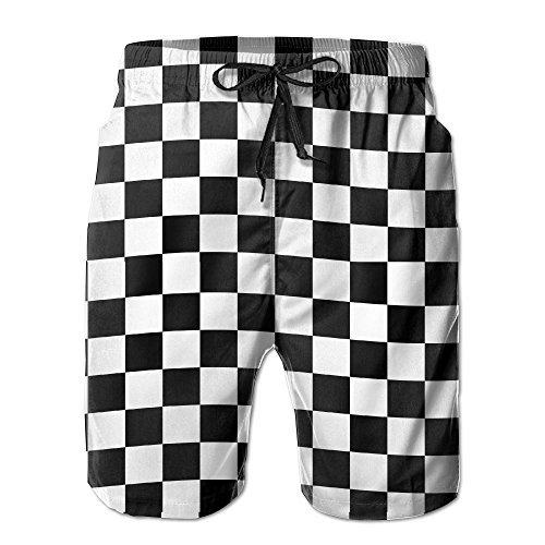 UNIQUE Pants Mens Black White Race Checkered Flag Quick Dry Beach Board Shorts Summer Swim Trunks with Mesh Lining