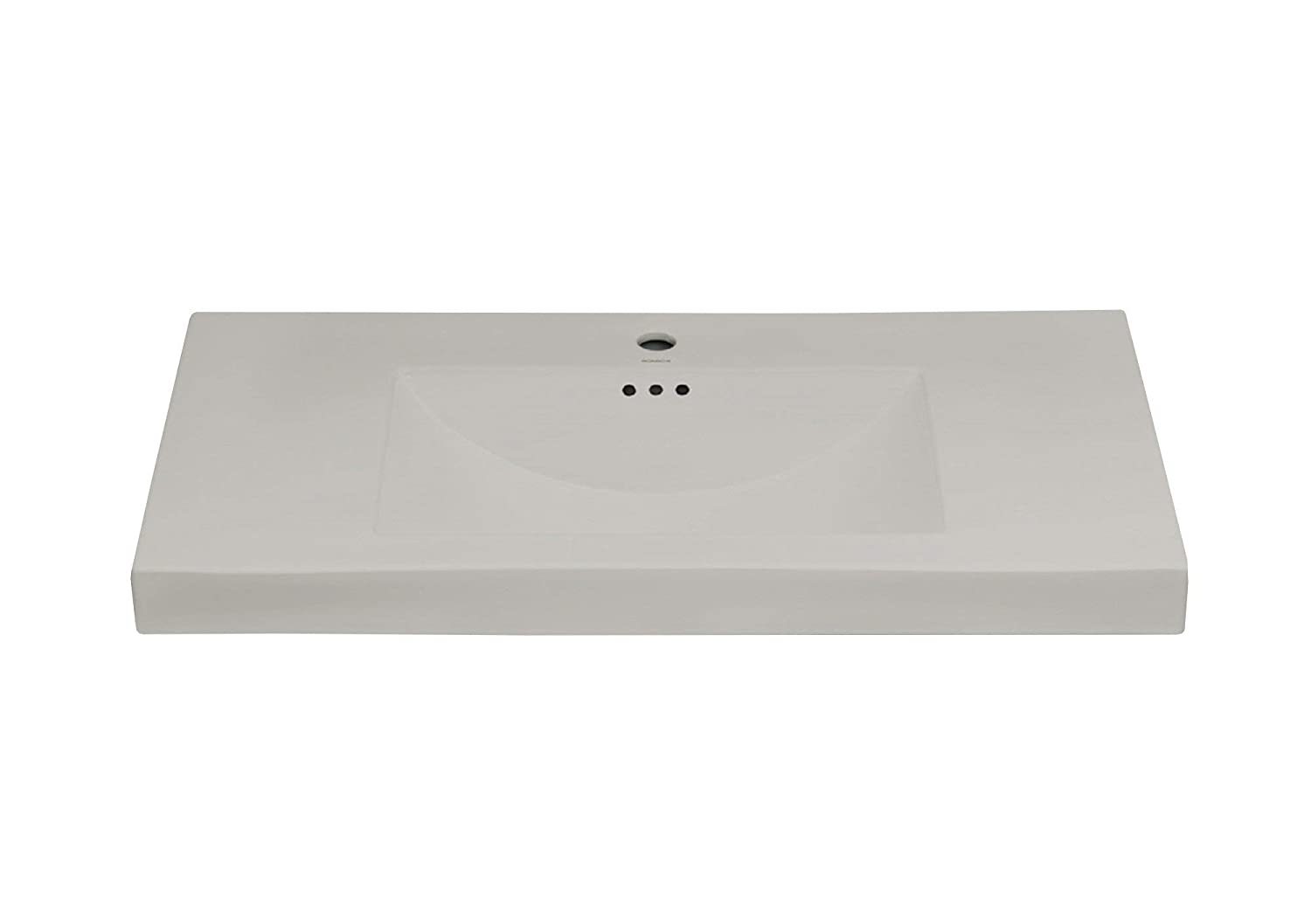 Ronbow 37 Evin Ceramic Bathroom Sink Sinktop with Single Vanity Faucet Hole for drain in Cool Gray color 216637-1-CG