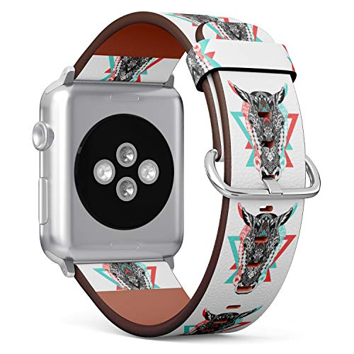 S-Type iWatch Leather Strap Printing Replacement Wristbands Compatible with Apple Watch 4/3/2/1 Sport Series (38mm) - Tribal Aztec Zebra - Zebra Tribal