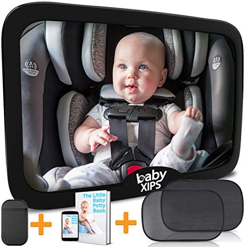 Car Mirror Baby by Baby Xips - Large Wide View 360 Adjustable and Shatterproof Convex Rearview Mirror - CPSAC Safety Certified - Allows Mom and Dad A Clear View of ()