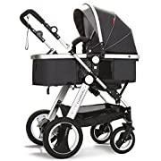 Infant Toddler Baby Stroller Carriage - Cynebaby Compact Pram Strollers add Tray (Black)