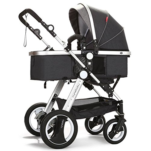 cynebaby Infant Toddler Baby Stroller Carriage Compact Pram Strollers add Tray (Black)