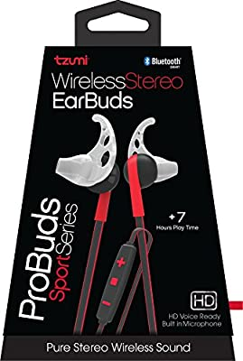 Tzumi Bluetooth Wireless Stereo ProBuds Sports Earbuds - Rechargeable Wireless Headphones with Powerful Bass - Built in High Definition Microphone and Remote Music Control - Red