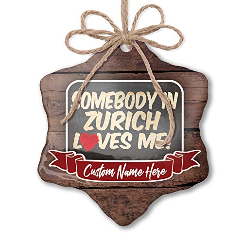 NEONBLOND Custom Family Ornament Somebody in Zurich Loves me, Switzerland Personalized Name