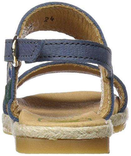 El Naturalista Kids Mädchen E121a Peeptoe Sandalen Blau (Vaquero)