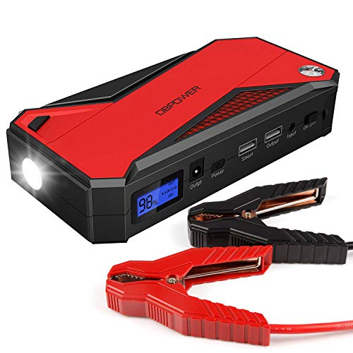 - DBPOWER 600A 18000mAh Portable Car Jump Starter (up to 6.5L Gas, 5.2L Diesel Engine) Battery Booster and Phone Charger with Smart Charging Port (Black/Red)