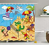 Ambesonne Kids Shower Curtain, Cartoon Style Animals Playing on Beach Monkey Hippo Dolphin Exotic Summer Illustration, Fabric Bathroom Decor Set with Hooks, 84 Inches Extra Long, Multicolor