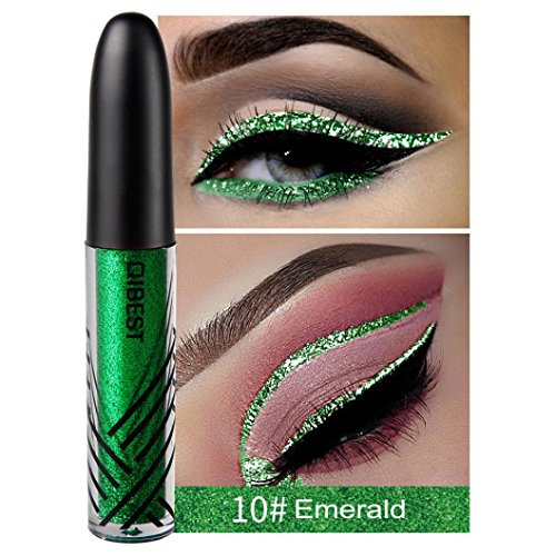 Roysberry Eyeshadow, Glilter Rainbow Liquid Brush, Long-lasting Lady Makeup Golden Color Beauty Glazed Shimmer Metallic Colorful Waterproof Bottled Eyeshadow (010 Emerald)