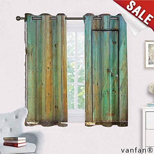 Big datastore Vintage Curtain Mount,Rustic Old Wood Gate Dated Tuscany House Entrance with Antique Texture Photo for Living Room Dining Room,Mint Brown W63 x L63