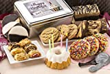 Dulcet Gift Basket Happy Birthday Tin-Sprinkle Cookies, Chocolate Crumb Cake, Lemon Bundt, Cheese Brownie, Blondie, Walnut Brownie, Black and White Cookies, and Much More, Best Birthday GIft