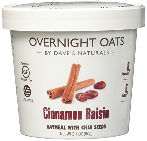- Overnight Oats by Dave's Naturals--Cinnamon Raisin--Box of 8--Healthy Breakfast--With Chia Seeds and Gluten Free Whole Grain Oats