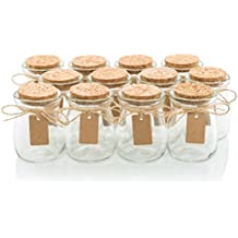 Glass Favor Jars With Cork Lids - Mason Jar Wedding Favors Apothecary Jars Honey Pot Bottles With Personalized Label Tags and String - 3.4oz [12pc Bulk Set] Ideal For Spices, Candy and Candle Making