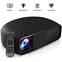 GBTIGER 4000 Lumens Portable Home Projector 1280 x 800 Pixels Support Full 1080P Multimedia LCD Projector with VGA HDMI USB AV DC Port for Home Theater Cinema Moive Video Paties Games (CL760-Black)