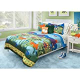 3 Piece Kids Multi Dinosaur Theme Comforter Full Queen Set, Beautiful Old Aged Animals, Volcano, Lava Mountains Print, Dino Paws Borders, Colorful Adventurer Print Bedding, Hypoallergenic, Polyester