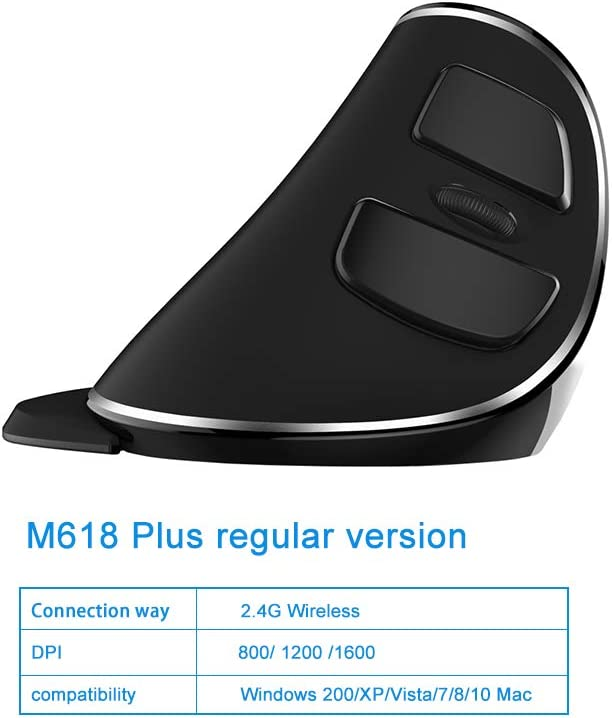 2.4GHz Wireless Optical Mouse with 6 Buttons Detachable Palm Rest for Laptop Computer PC Adjustable DPI 800//1200//1600 M618plus-wireless EASYPLAY Ergonomic Vertical Mouse