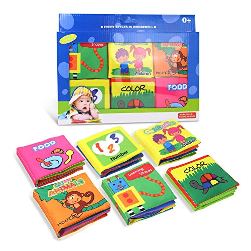 Coolplay Baby's First Non-Toxic Soft Fabric Cloth Book Set - Squeak, Rattle, Crinkle,Colorful - Pack of 6 by Coolplay