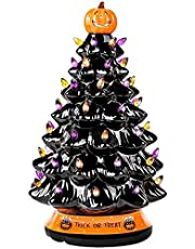 LED Ceramics Halloween Pumpkin Christmas Tree,Pre-Lit Ceramic Halloween Tree,Tabletop Xmas Decor,Hand-Painted Black Christmas Tree