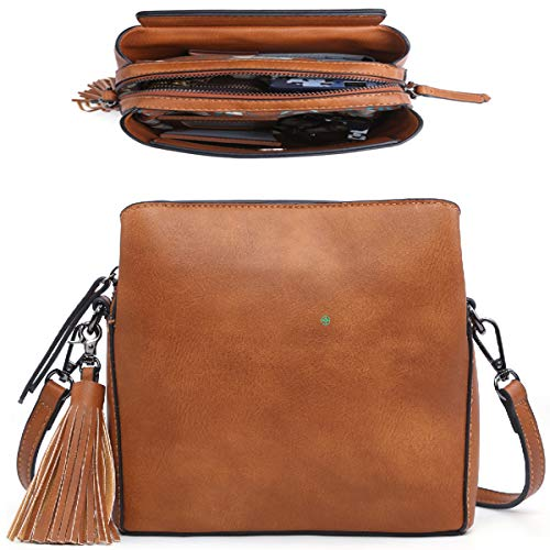 Small Cross Body Purse Shoulder Bag Mini Crossbody Handbag Women Girls Lady (Tan)