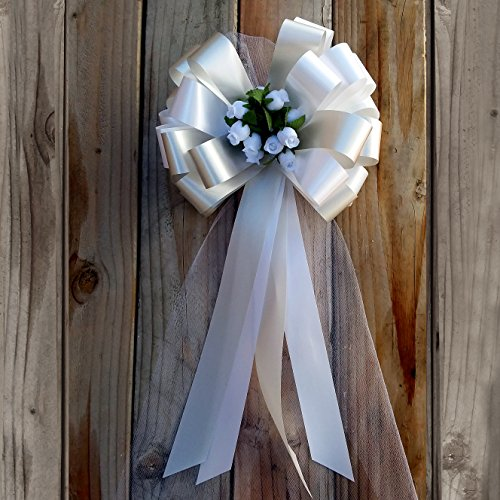 Rose Wedding Pew Bows - White and Silver Wedding Pull Bows with Tulle Tails and Rosebuds - 8