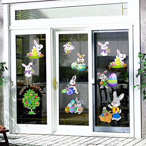 Benbo Easter Bunny Window Cling Decorations, Easter Eggs Bunny Stickers Bunny Decals Easter Door Floor Window Decor Kids School Home Party Ornaments