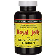 Royal Jelly 200 mg + Ginseng (Siberian 200mg, Korean 100mg) Y.S. Organic Bee Far, 65 Capsules by YS Eco Bee Farms
