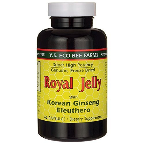 Royal Jelly 200 mg + Ginseng (Siberian 200mg, Korean 100mg) Y.S. Organic Bee Far, 65 ()