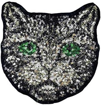 Men club ?猫頭スパンコール刺繍パッチ縫製アップリケバッジ服バッグ生地の装飾-スタイリッシュで人気のミディアム