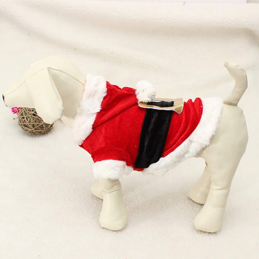 Vestiti per Cani di Natale | Costumi Santa Doggy | Abbigliamento per Animali Domestici - Vestiti di Babbo Natale per Cani di Natale (Rosso, XXS) SamMoSon