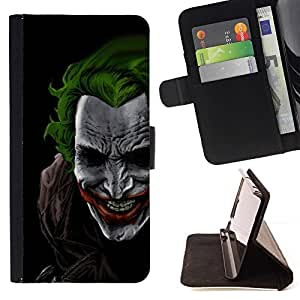 For Samsung ALPHA G850 Green Hair Joker Style PU Leather Case Wallet Flip Stand Flap Closure Cover