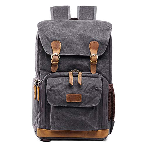 Large Camera Backpack,Vintage Canvas Waterproof Photography Bag Photographer Gift,BCDshop 15'' Laptop Backpack (Gray)