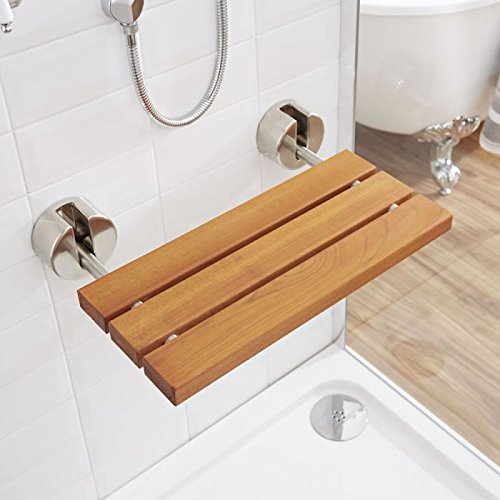 Hudson Reed Wall Mounted Wooden Folding Shower Seat In A Luxury Teak Finish & Brushed Nickel Hinges