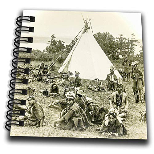 3dRose Scenes from The Past - Magic Lantern - Vintage Indians of Quebec Canada Circa 1910 Glass Slide Photo - Mini Notepad 4 x 4 inch - 1910 Tee
