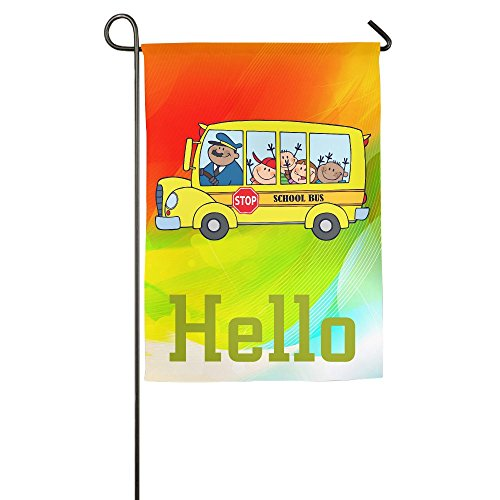 Cartoon School Bus Single-sided Family Decorative Garden Fla