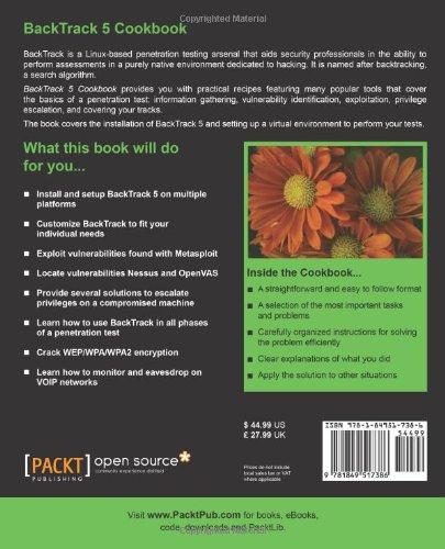 BackTrack 5 Cookbook: 9781849517386: Computer Science Books @ Amazon com