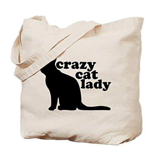Cafepress–Crazy Cat Lady–Borsa di tela naturale, tessuto in iuta