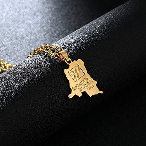 R/épublique D/émocratique Du Congo Carte Et Drapeau Pendentif Or Couleur Drc Kinshasa Collier Bijoux Patriotiques Pour Femmes//Hommes Bijoux