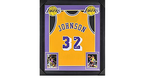 d4eb0aa617ad Lakers Magic Johnson Authentic Signed   Framed Yellow Jersey BAS Witnessed  at Amazon s Sports Collectibles Store